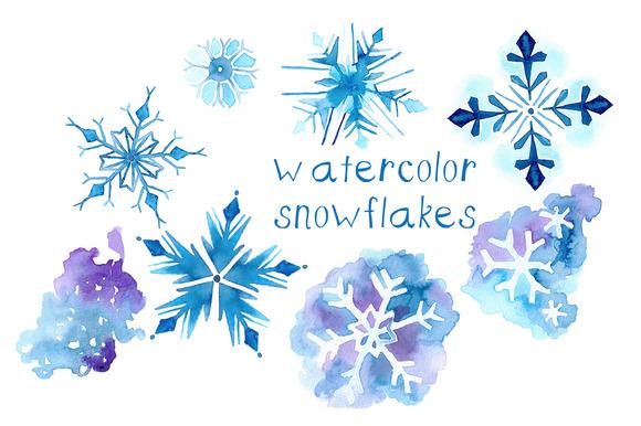 Watercolor Snowflake Illustrations
