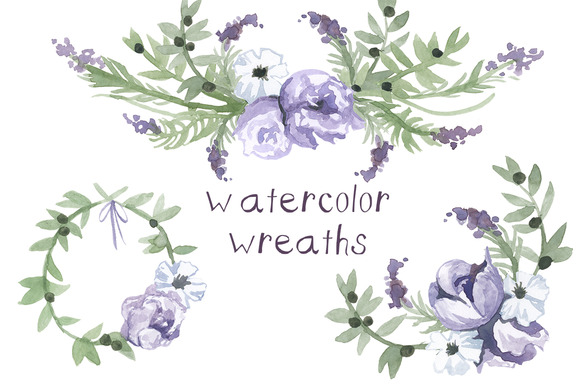 Watercolor Wedding Wreaths Clip Art