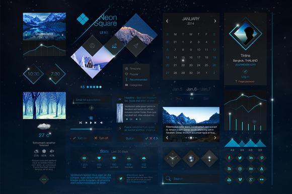 Neon Square UI Kit