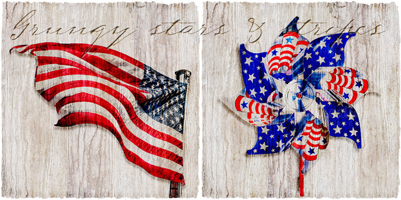 Grungy Patriotic Items On Wood