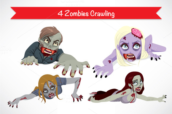 4 Halloween Zombies Crawling