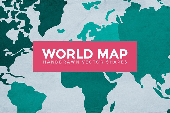 World Map Handdrawn Vector Shapes