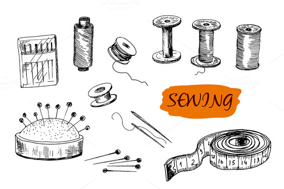 Sewing Set Hand Drawn Graphic