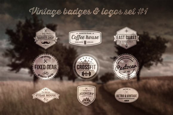 Vintage Badges Logos Set #1