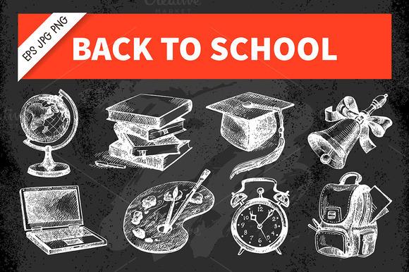 Hand Drawn Sketch School Set