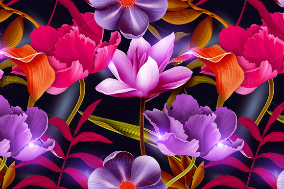 Tropical Flowers And Leaves