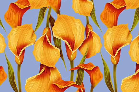 Seamless Calla Lilly Flower Pattern