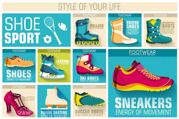 Flat Sport Shoes Wear Illustration