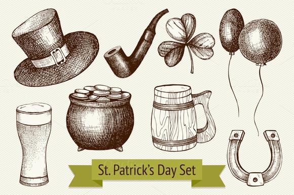 Hand Drawn St Patrick S Day Set