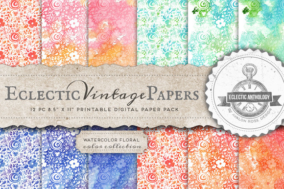 Watercolor Floral Printable Papers