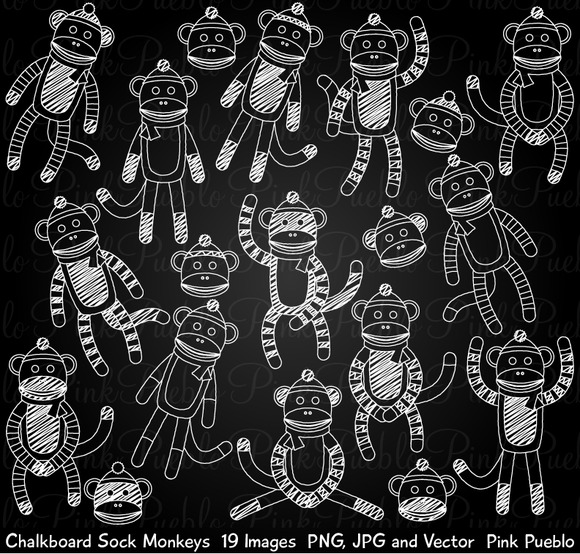 Chalk Sock Monkey Clipart Vectors