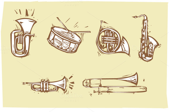 Woodcut Musical Instruments