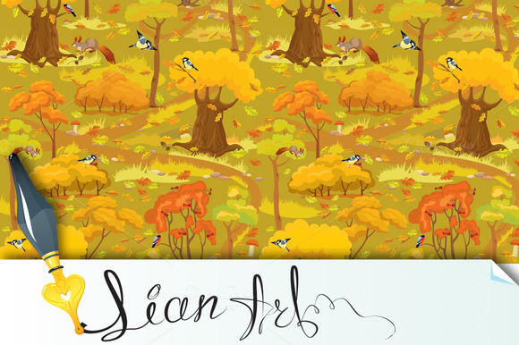 Seamless Pattern Autumn Forest