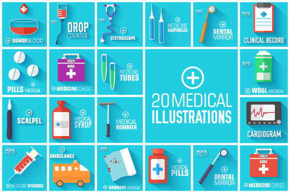 Set Of Medical Flat Illustrations