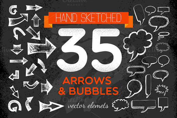 Handsketched Arrows Bubbles Set
