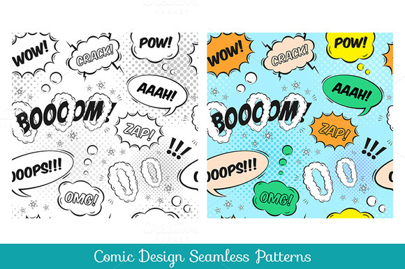 Comic Design Seamless Pattern Set