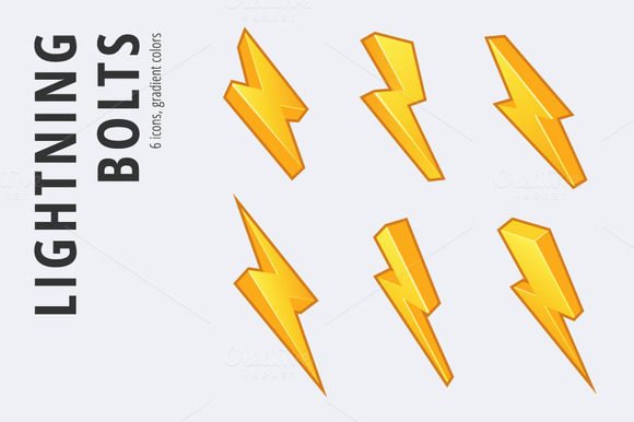 6 Lightning Bolts Set In 3 Styles