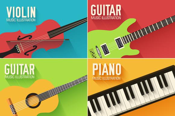 Music Flat Instruments Illustrations