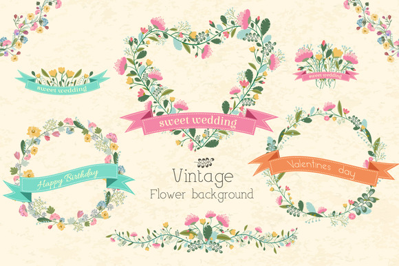 §іollection Of Vintage Vector Flowers