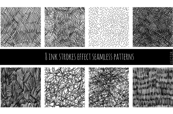 Set Of 8 Ink Strokes Effect Patterns