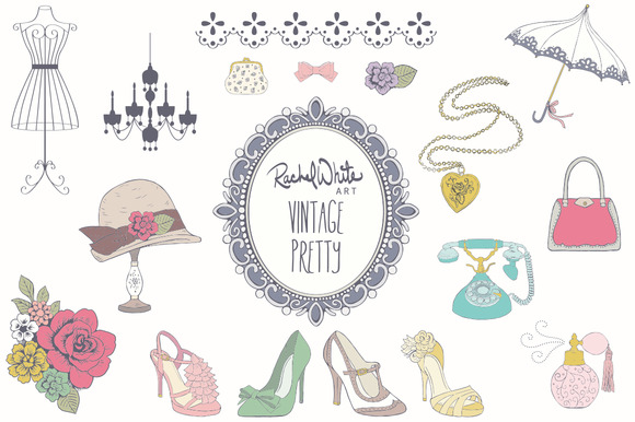 Vintage Pretty Things Vector PNG