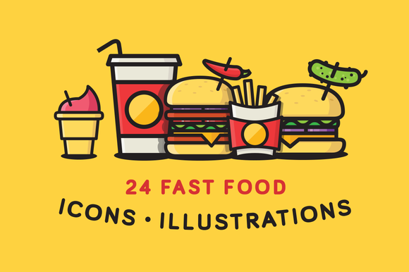 Fast Food Icons Illustrations