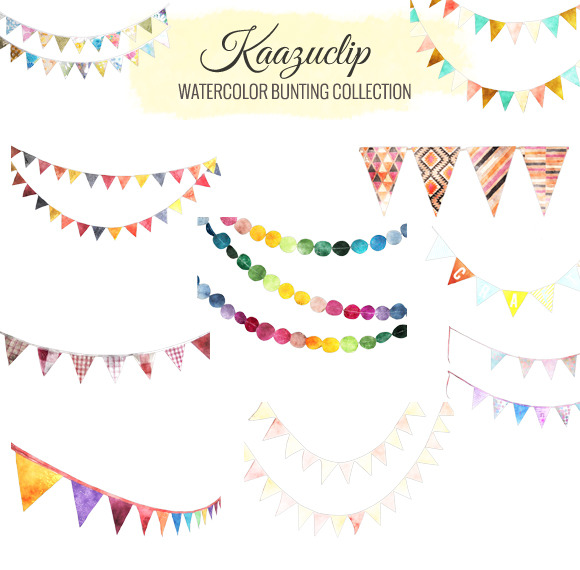 Watercolor Bunting Collection