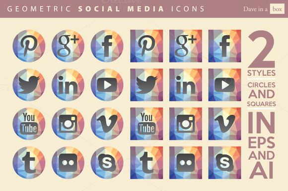 Geometric Vector Social Media Icons