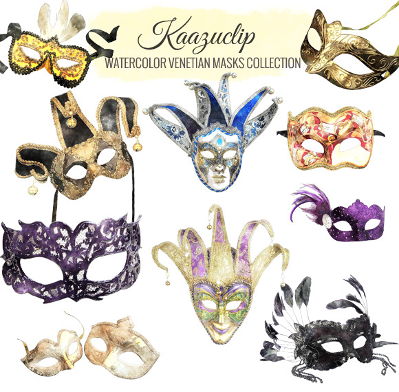 Watercolor Venetian Masks Collection