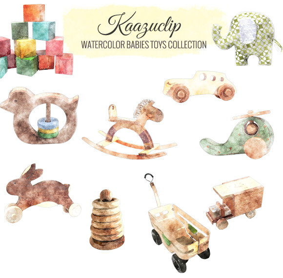 Watercolor Babies Toys Collection