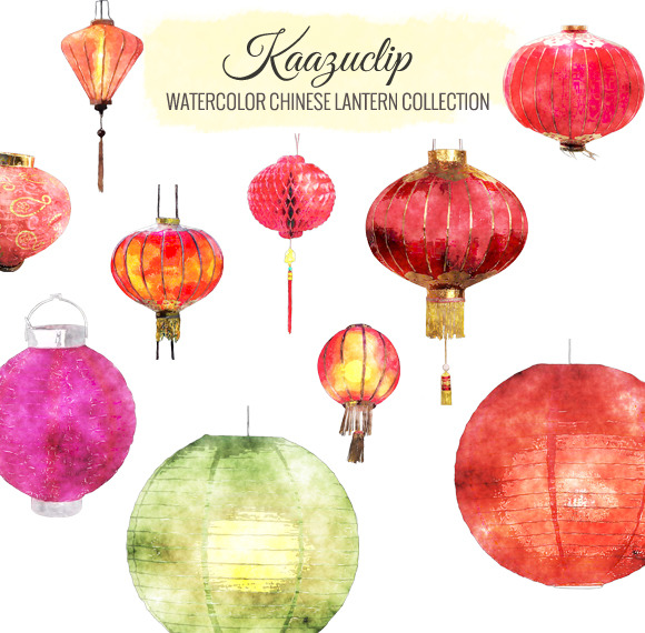 Watercolor Chinese Lantern Coll