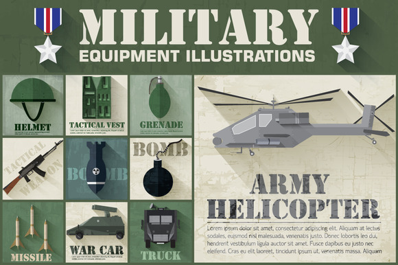 Military Army Flat Illustrations