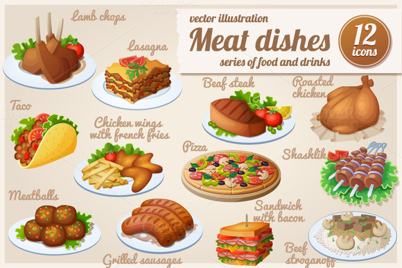 Set Of Food Icons Meat Dishes