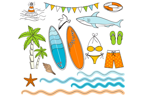 Hand Drawn Surfing Clip Art