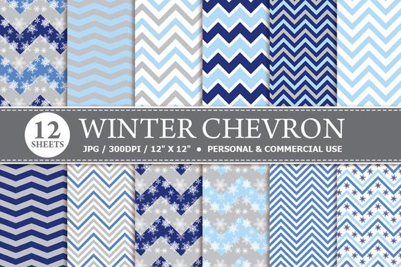 Winter Chevron Digital Paper
