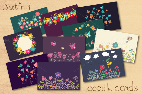 Doodle Flowers Three Set In One
