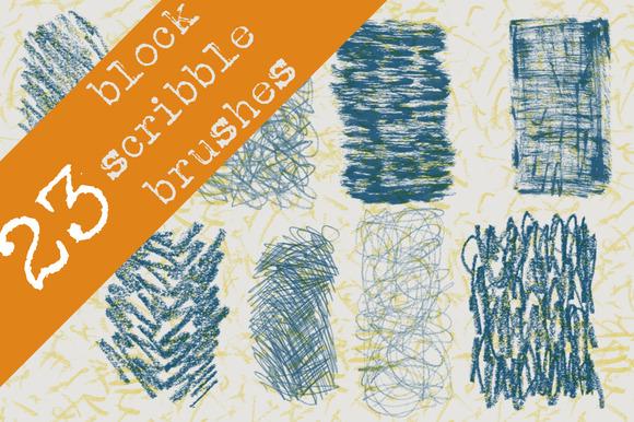 23 Block Scribble Brushes