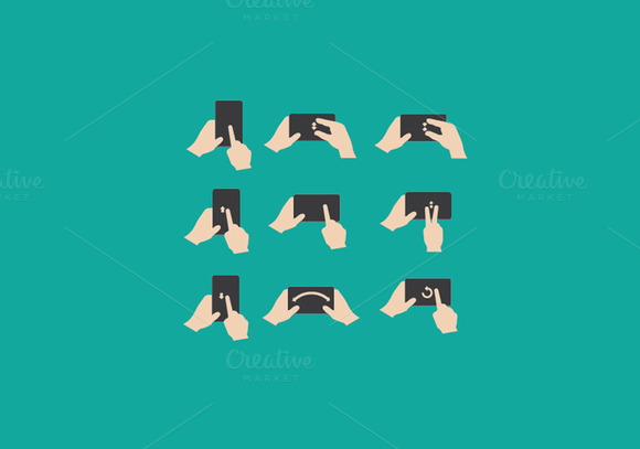 Set Of Hand Gestures Icons