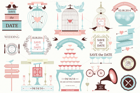 Vector Wedding Design Elements