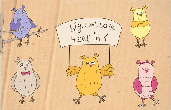 Big Owl Sale Four Set In One
