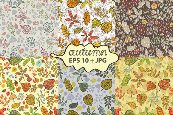 Autumn Leaves Seamless Pattern Set 3