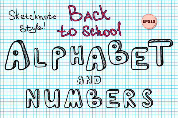 Sketchnote Alphabet And Numbers