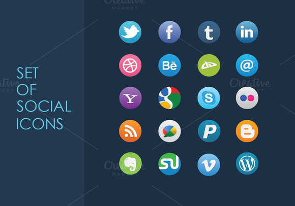 Set Of Vector Social Icons