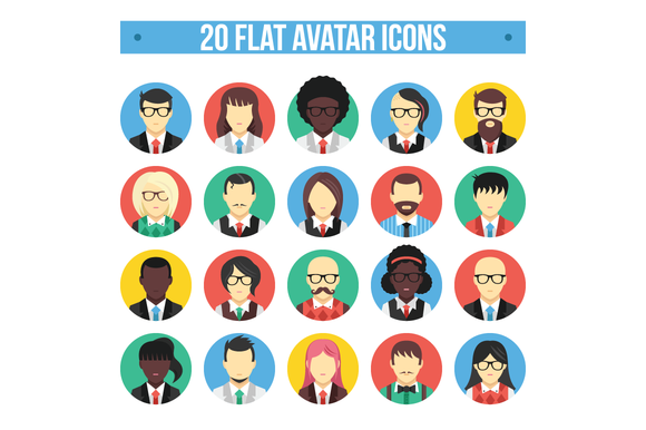 20 Flat Avatar Icons