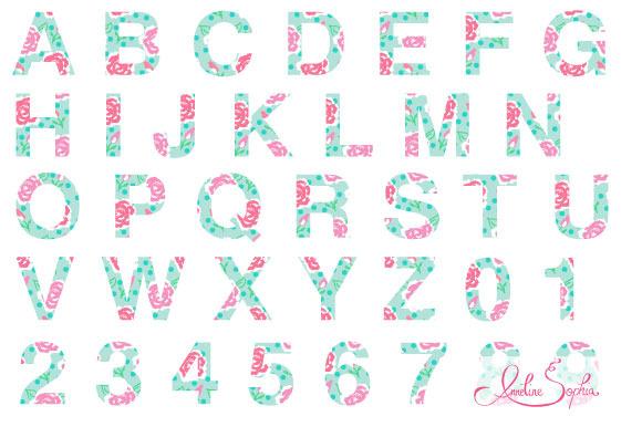 Shabby Rose Clipart Font