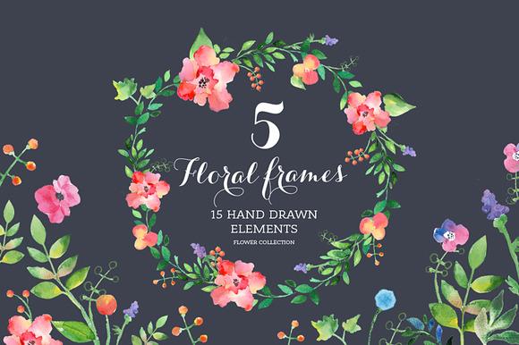 Set Of Watercolour Floral Frames