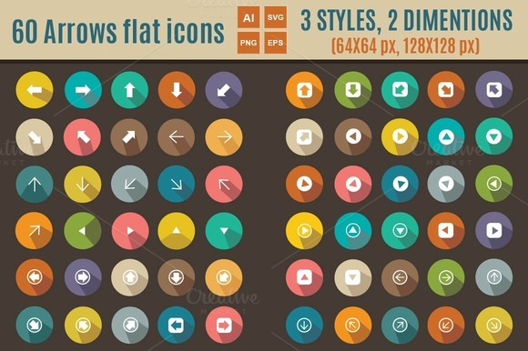 60 Arrows Flat Icons