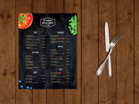 Modern Bistro Cafe Menu Template