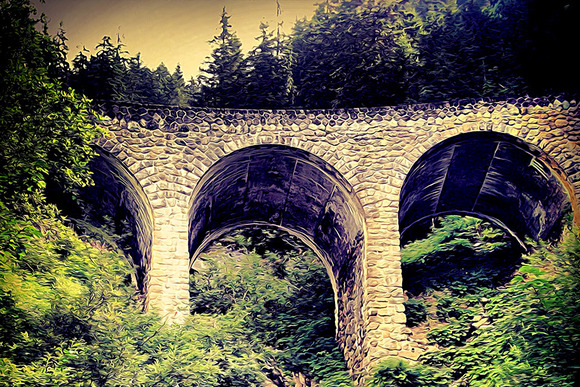 Vintage Illustration Of A Bridge