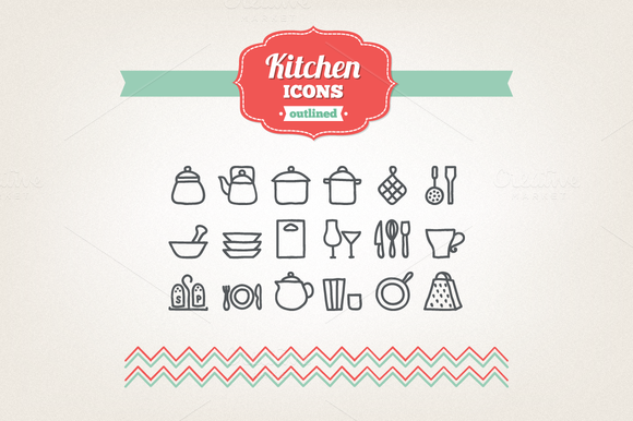 Hand Drawn Kitchen Icons